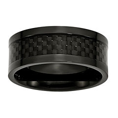 Personalized Mens 9mm Black Ion-Plated Titanium Wedding Band