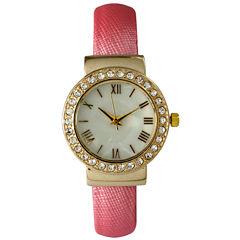 Olivia Pratt Womens Gold-Tone White Dial Pink Bangle Watch 14133