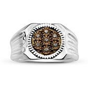 Mens 1/10 CT. T.W. Color Enhanced Champagne Diamond Sterling Silver Ring