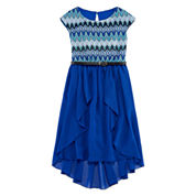 Speechless® Short-Sleeve Knit Lace-to-Chiffon Dress - Girls 7-16