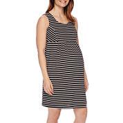 Sleeveless Stripe Ponte Maternity Dress