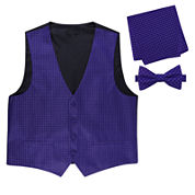 Metallic Grid Vest, Bow Tie & Pocket Square Set