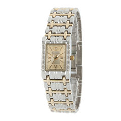 Personalized Dial Womens Diamond-Accent Square Two-Tone Bracelet Watch