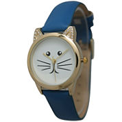 Olivia Pratt Womens Gold-Tone White With Black Cat Face Dial Royal Blue Leather Strap Watch 13586L