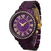 Olivia Pratt Womens Rhinestone Accent Purple Bracelet Watch 13839
