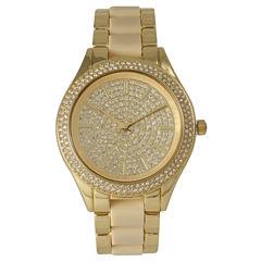 Olivia Pratt Womens Rhinestone Bezel Rhinestone Dial Gold Cream Two Tone Gold Cream Bracelet Watch 15295