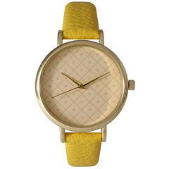Olivia Pratt Womens Checkered Dial Yellow Petite Leather Watch 14543