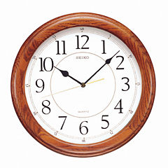 Seiko® White Dial Dark Brown Solid Oak Decorative Wall Clock Qxa129Blh