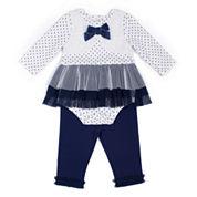 Little Lass® 2-pc. Ivory Rosette Leggings Set - Baby Girls 3m-24m