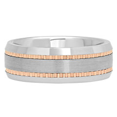Mens Tungsten Carbide Two-Tone Wedding Band