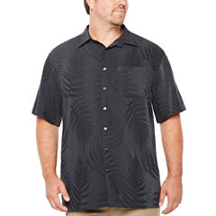 Van Heusen Short Sleeve Textured Hanging Camp Short Sleeve Camp Shirt-Big and Tall
