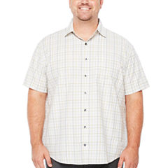 Van Heusen Short Sleeve Traveler Air Plaid Button-Front Shirt-Big and Tall