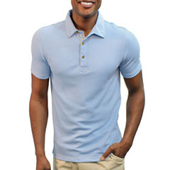 Steve Harvey Contract Stitching Short Sleeve Solid Knit Polo Shirt