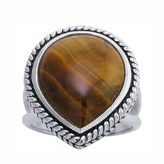 Womens Brown Tiger's Eye Sterling Silver