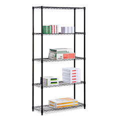 Honey-Can-Do 5-Tier Black Storage Shelves 18X36X72
