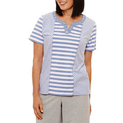 Alfred Dunner Long Weekend Short Sleeve Split Crew Neck T-Shirt-Womens