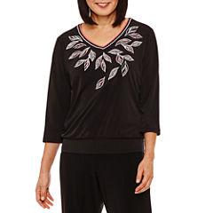 Alfred Dunner Saratoga Springs 3/4 Sleeve V Neck T-Shirt-Womens