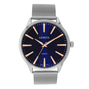Mens Geneva Silver-Tone Black Strap Watch  33590