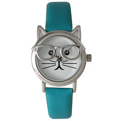 Olivia Pratt Womens Silver-Tone Ears And Glasses White Cat Face Print Dial Teal Faux Leather Strap Watch 15097