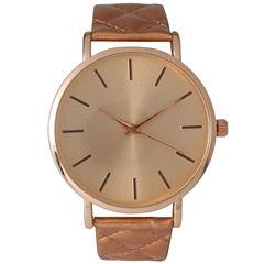 Olivia Pratt Womens Rose Quilted Leather Strap Watch 13029Mrose