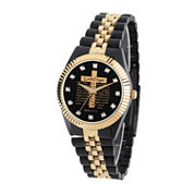 Personalized Mens Black And Gold Tone Cross Bracelet Watch
