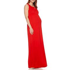 Sleeveless Keyhole Maxi Maternity Dress