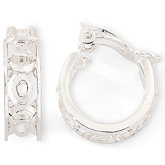 Liz Claiborne® Carved Silver-Tone Clip-On Hoop Earrings