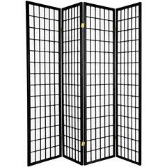 Oriental Furniture 6' Window Pane Shoji 4 Panel Room Divider