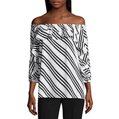 Worthington 3/4 Sleeve Scoop Neck Georgette Blouse