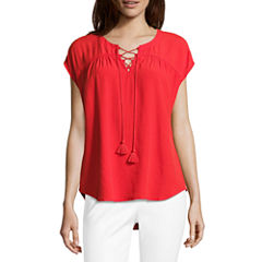 Liz Claiborne Short Sleeve Split Crew Neck Lace-Up Blouse