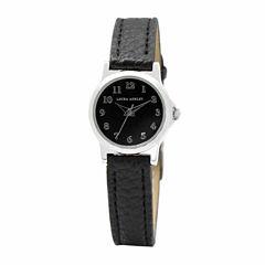 Laura Ashley Petite Band Womens Black Strap Watch-La31028ss