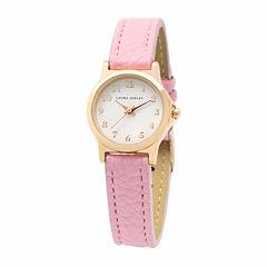 Laura Ashley Petite Band Womens Pink Strap Watch-La31028pk