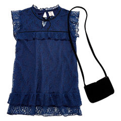 Arizona SS High Neck Lace Top w/ Purse - Girls' 7-16 & Plus