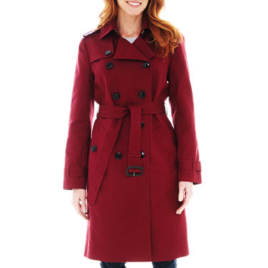 Liz Claiborne Womens Belted Lined Trench Coat