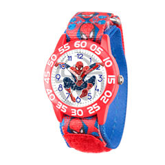 Marvel Boys Red Ultimate Spiderman Time Teacher Plastic Strap Watch W003229