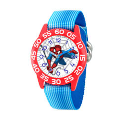 Marvel Boys Blue And White Ultimate Spiderman Time Teacher Plastic Strap Watch W003231
