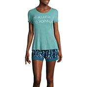 Wallflower Short-Sleeve Tee and Shorts Pajama Set