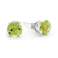 Genuine 6mm Peridot 10K Yellow Gold Stud Earrings
