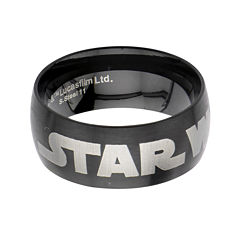 Star Wars® Logo Mens Stainless Steel and Black IP Dome Ring