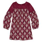 Arizona Long-Sleeve Burgundy Print Peasant Dress with Lace Yolk - Girls 7-16