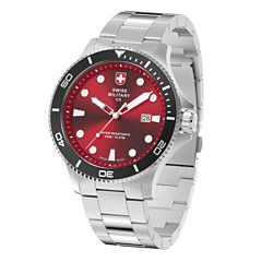 Swiss Military By Charmex Diving Mens Silver Tone Bracelet Watch-79292_9_D