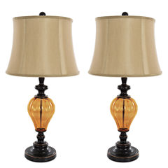 Lavish Home Amber Glass 2-pc. Metal Table Lamp