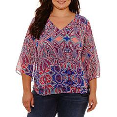 Boutique + Short Sleeve V Neck Woven Blouse-Plus