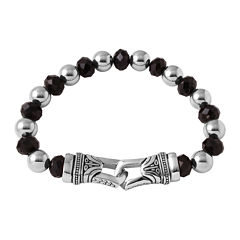 Mens Crystal and Stainless Steel Bead Bracelet