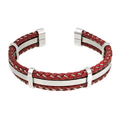 Mens Braided Brown Leather Stainless Steel Cuff Bracelet