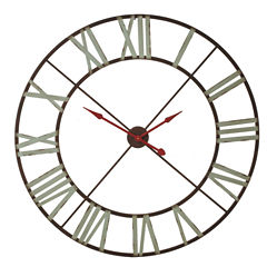 XL Wall Clock with Aqua Numerals and Red Hands