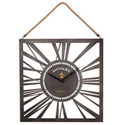 Square Wall Clock with Rope Hanger