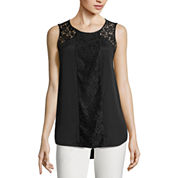 Worthington® Sleeveless Lace Inset Top