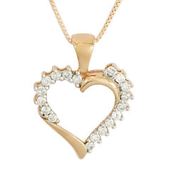 1/4 CT. T.W. Diamond 10K Rose Gold Heart Pendant Necklace