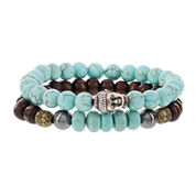 Dee Berkley Mens Genuine Turquoise, Hematite and Wood Bead Buddha Stretch Bracelets